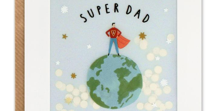 Shakie confetti card with man in cape stood atop the earth and wording super dad