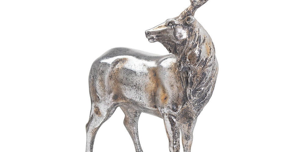 large decorative silver stag