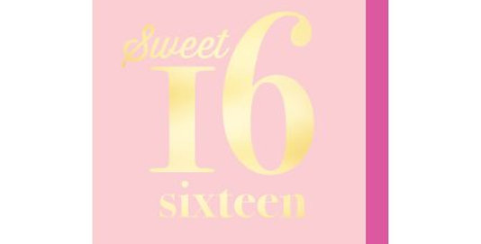 16th Birthday card, pink card with gold writing saying sweet 16