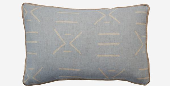 calming powder blue, Kongo cushion shows a linear African mud cloth motif in a linen colour