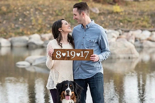 Save the Date Engagement Wood Sign