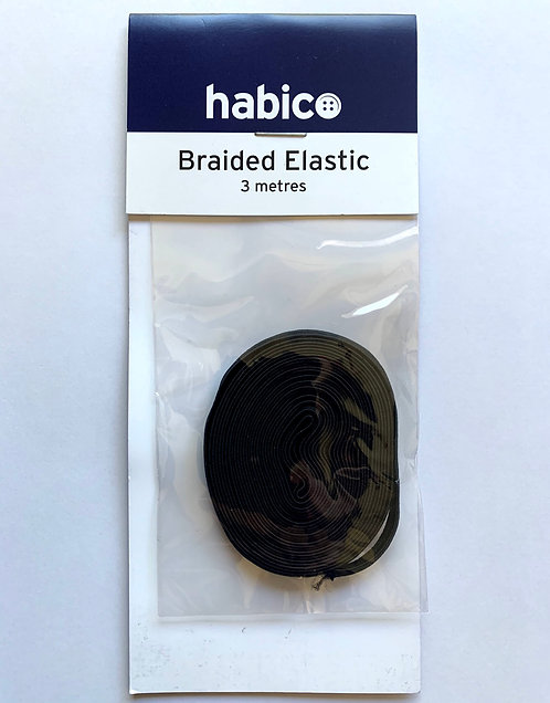 6mm Black Braided Elastic
