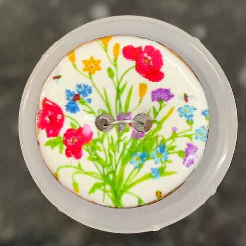 23mm Glazed Coconut Coloured Flowers Button