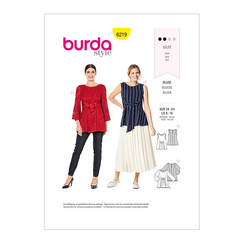 6219 Pull-On Tops Burda Pattern