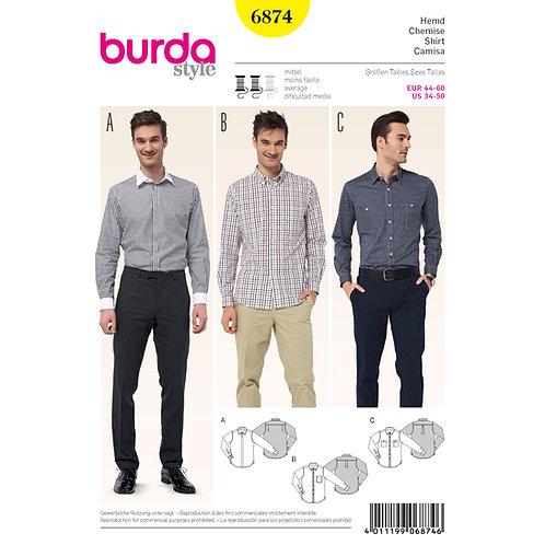 Burda Style Pattern 6874 Men's Shirts