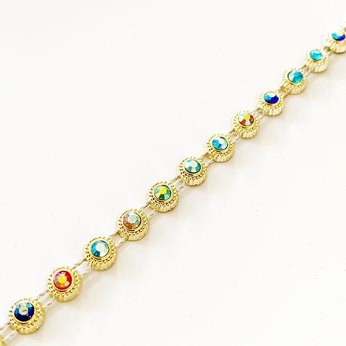Diamante Trim, Recycled Plastic: Round 6mm Gold
