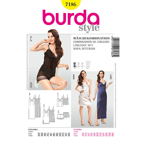 7186 Burda Pattern Lingerie Set
