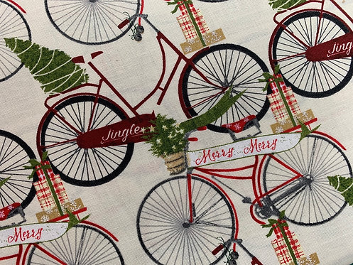 Jingle All the Way 3 Wishes Bicycles 100% Cotton Fabric