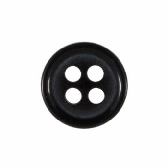 8mm Plain Black Button 4 hole