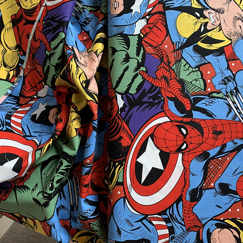 Marvel Retro Characters Large Collage 100% Cotton Fabric