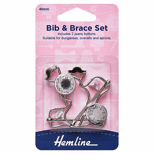 40mm Bib & Brace Dungaree Set Nickel Silver