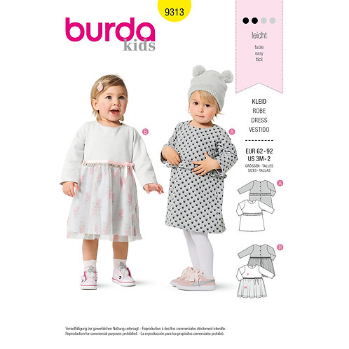 9313 Toddler Dress and Pants Burda Pattern