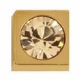 8mm Gold Square Button with Swarovski Stone