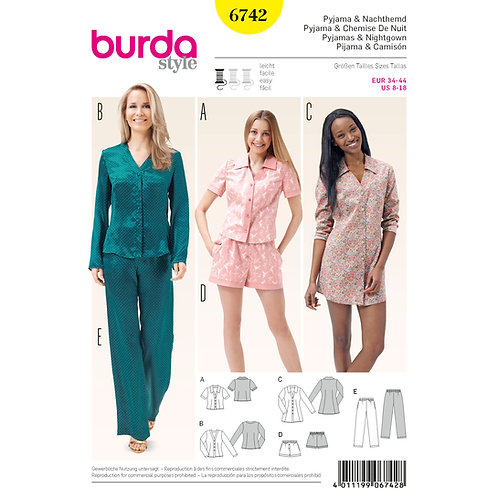 6742 Burda Pattern Loungewear Set