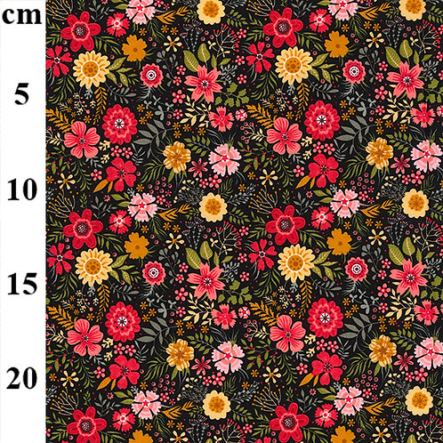 Floral mixed black base 100% Cotton Poplin Fabric