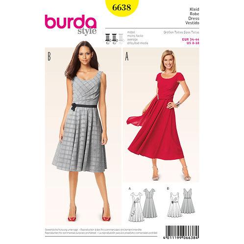 6638 Pleated Dress Burda Pattern