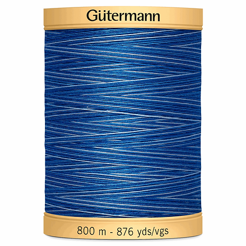 Cotton Thread 800m Variegated Blues