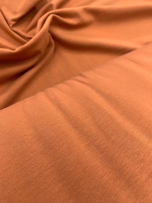 Organic Rust Orange Jersey Stretch Fabric