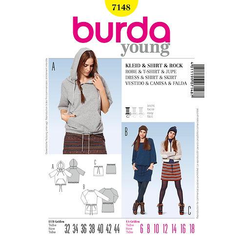 7148 Burda Pattern Sports Hoodie Tunic
