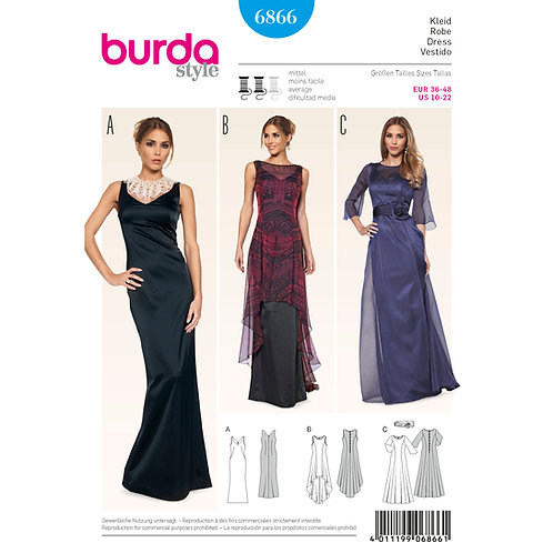 6866 Occasion Dress Burda Pattern
