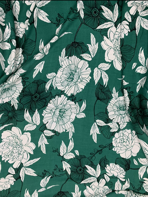 Emerald Green large Floral print Viscose Fabric