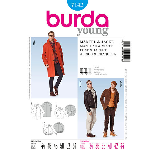 7142 Burda Pattern Men's Coat & Bomber Jacket
