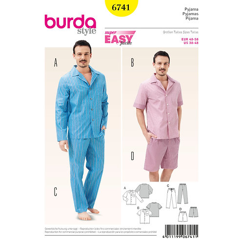 6741 Burda Pattern Mens Loungewear Set