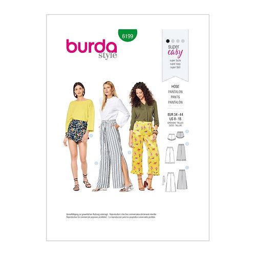 Burda Style Pattern 6199 Pull-on Pants & Shorts
