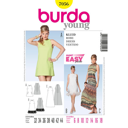 7056 Evening Dress Burda Pattern