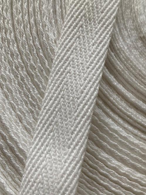 15mm White Cotton Twill Herringbone Tape Webbing