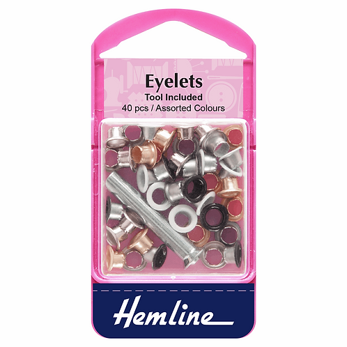 Eyelets with Tool: 5.5mm: Assorted Colours: 40 Pieces