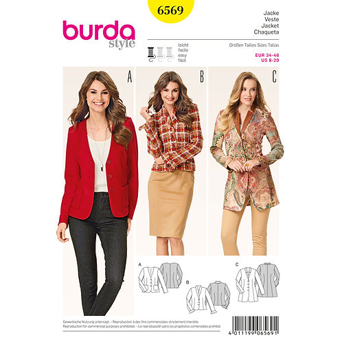 6569 Coat Jacket Burda Pattern