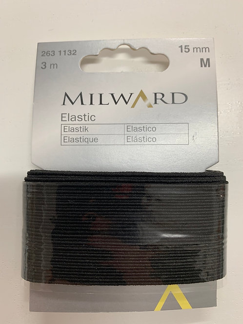 15mm Black Elastic 3m pk