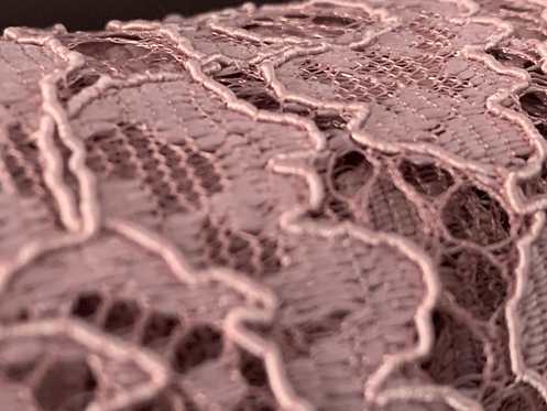 Corded Old Rose Pink Lace Fabric