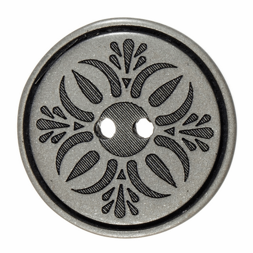 38mm Fleur Design Button: Silver/Black