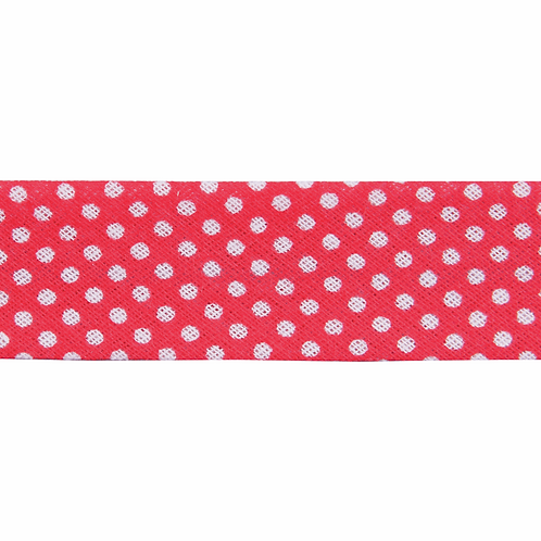 Red Polka Dot Spot 25mm Bias Binding