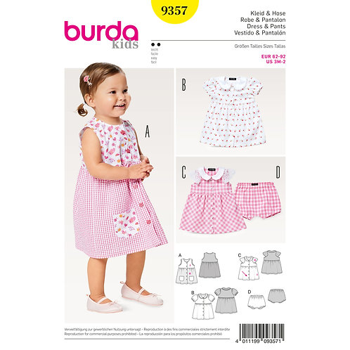 9357 Baby Collar Dress and Panties Burda Pattern