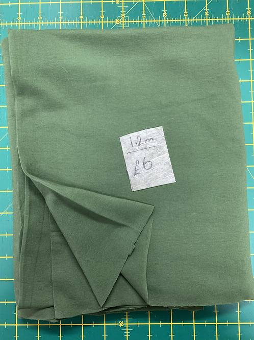 Clearance Fabric khaki green jersey stretch