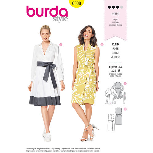 6338 Wrap Dresses Burda Pattern