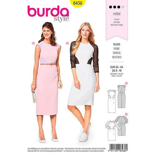 6438 Figure-Fitting Dress Burda Pattern