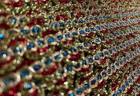 Metallic Gold, Red & Blue Trim 13mm