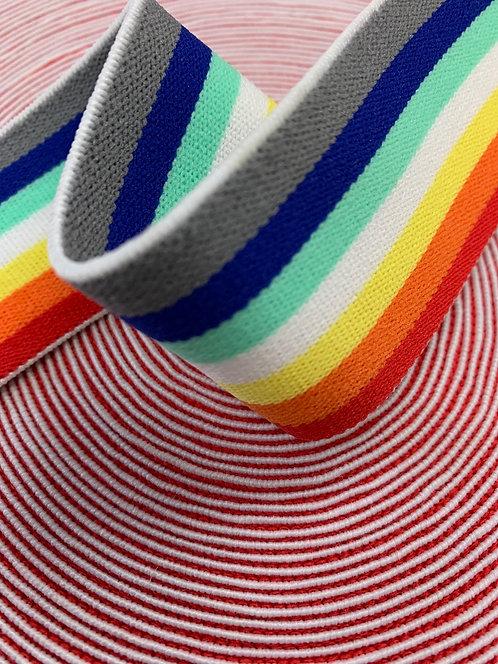 Rainbow Stripe Elastic 40mm