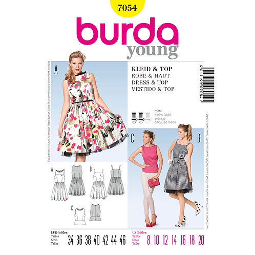 7054 Retro Dress Burda Pattern