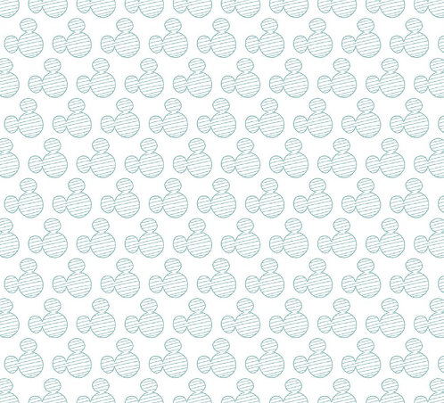 Mickey Mouse Teal Repeat 100% Cotton Fabric
