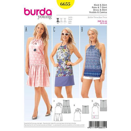 6655 Pleated Dress & Halter Top or Dress Burda Pattern