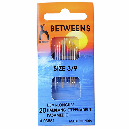 Pony Hand Sewing Needles, Betweens, Size 3-9