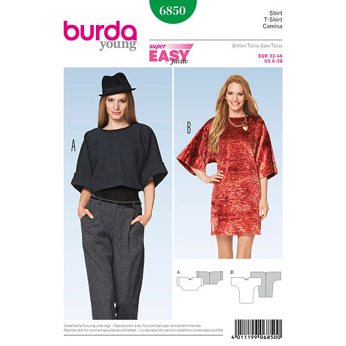 6850 Burda Pattern T-shirt Wrap Dress