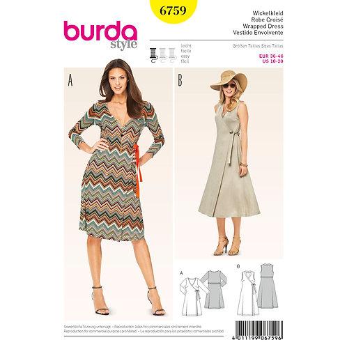 6759 Burda Pattern T-shirt Wrap Dress