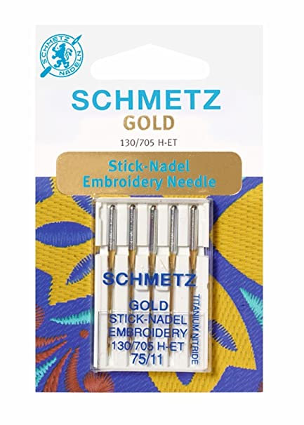GOLD Embroidery Needle Schmetz 75/11 Sewing Machine