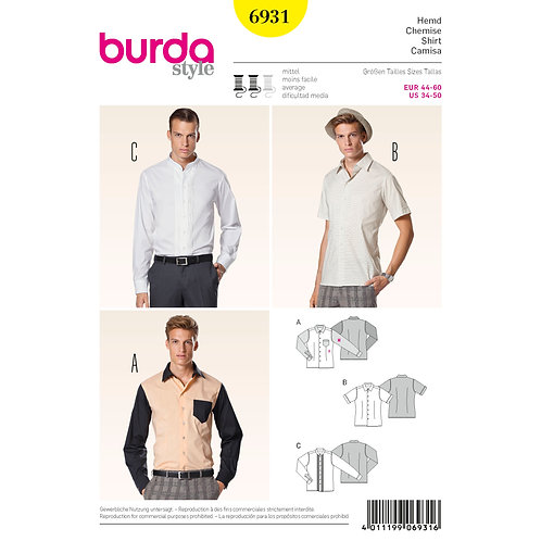 Burda Style Pattern 6931 Men's Shirt